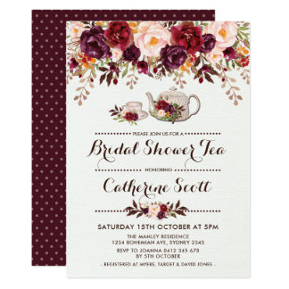 Floral Boho Bridal Shower Tea Party Invitation