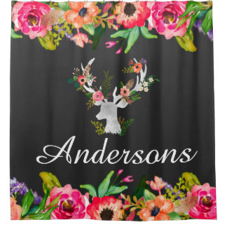 Floral Boho Deer Bath Shower Curtain Personalized