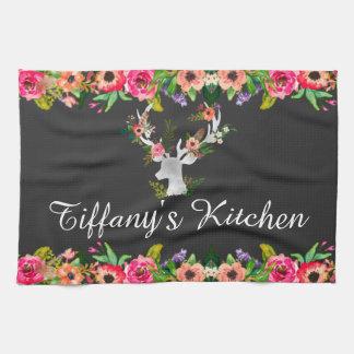Floral Boho Deer Monogram Name Kitchen Towel