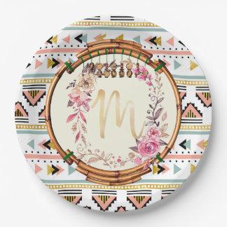 Floral Boho Monogram (M) 9 Inch Paper Plate