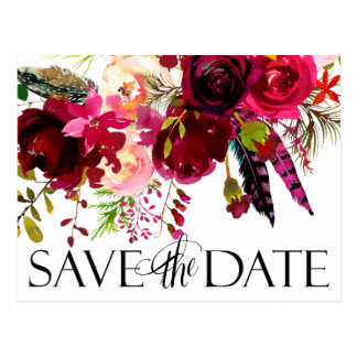 Floral Boho Save The Date Postcard