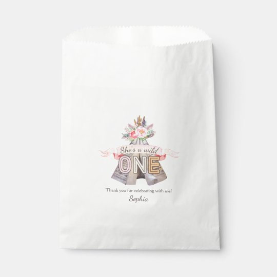 Floral Boho Tribal Teepee Wild One 1st Birthday Favour Bag