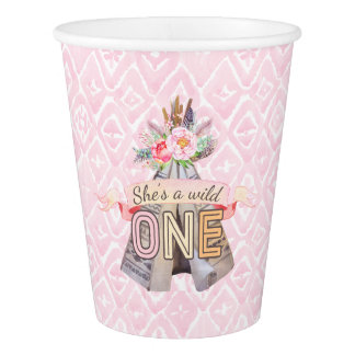 Floral Boho Tribal Teepee Wild One 1st Birthday Paper Cup