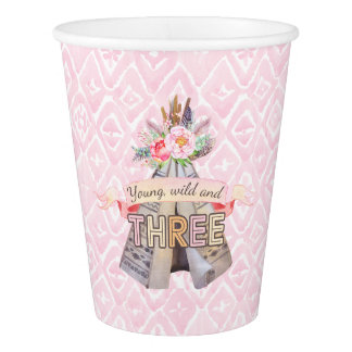 Floral Boho Tribal Teepee Young Wild 3rd Birthday Paper Cup
