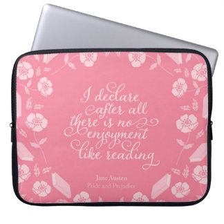 Floral Bookish Quote Jane Austen Pride & Prejudice Laptop Sleeve