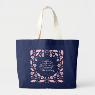 Floral Bookish Quote Jane Austen Pride & Prejudice Large Tote Bag