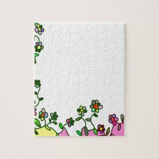floral border Cartoon flower doodle Jigsaw Puzzle