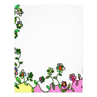 floral border Cartoon flower doodle Letterhead
