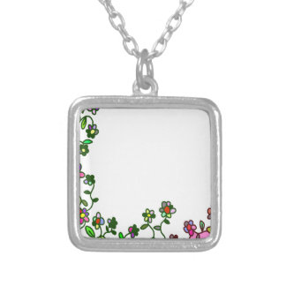 floral border Cartoon flower doodle Silver Plated Necklace