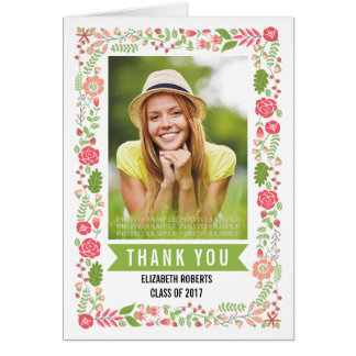 Floral border class of 2017 graduation Thank You Card