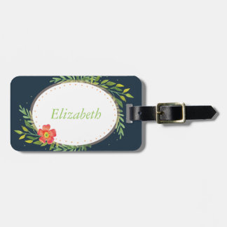 Floral Border Luggage Tag