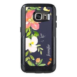 Floral Border on Navy Blue Personalized OtterBox Samsung Galaxy S7 Case