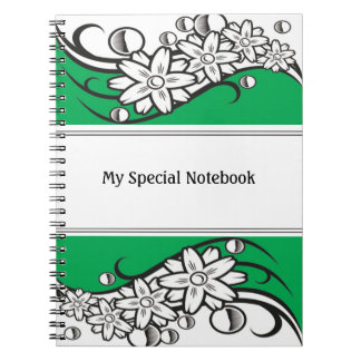 Floral Border Planner Notebooks Green