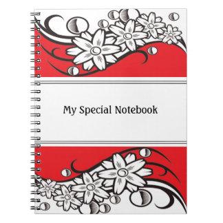 Floral Border Planner Notebooks Red