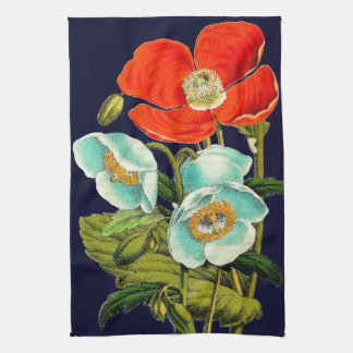 Floral Botanical Flowers Poppies Kitchen Towels