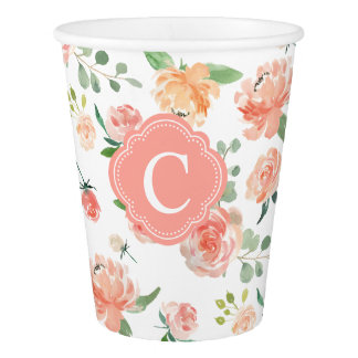 Floral Botanical Print with Monogram Paper Cup
