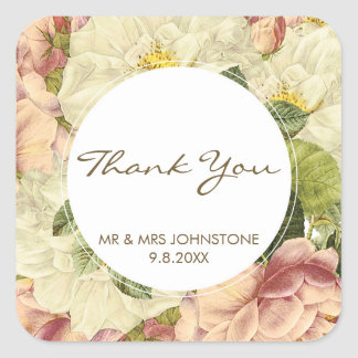 floral botanical vintage thank you favors stickers