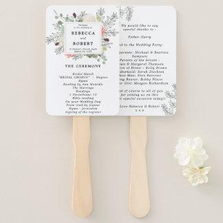floral botanical wedding program fans