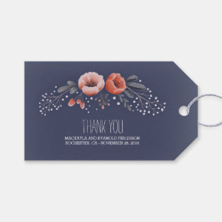 Floral Bouquet Baby's Breath Navy Gift Tags
