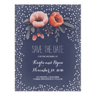 Floral Bouquet Baby's Breath Navy Save the Date Postcard