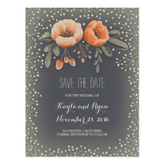Floral Bouquet Baby's Breath Vintage Save the Date Postcard