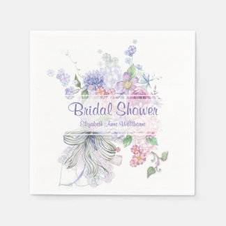 Floral Bouquet Bridal Shower Paper Napkins