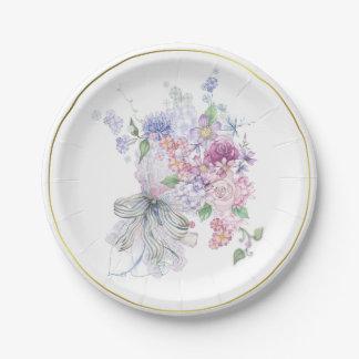 Floral Bouquet Bridal Shower Paper Plate