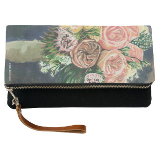 Floral Bouquet Clutch Purse Hand Bag