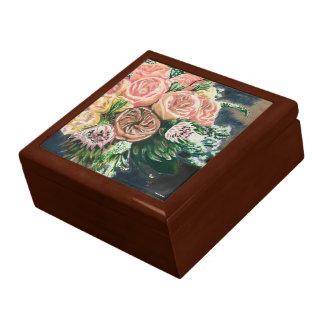 Floral Bouquet Oak Keepsake Box
