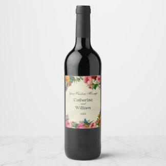 Floral bouquet on Parchment Paper Wine Label