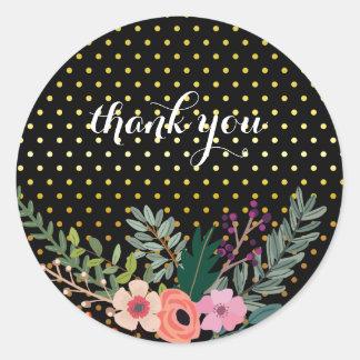 Floral bouquet party * choose background color round sticker