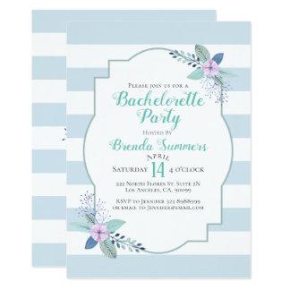 Floral Bouquet Pastel Stripes Bachelorette Invite