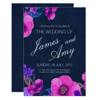 Floral Bouquet - Pink Purple - Wedding Invitation