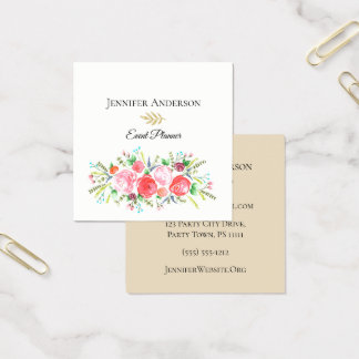 Floral Bouquet Watercolor Executive Square Business Card