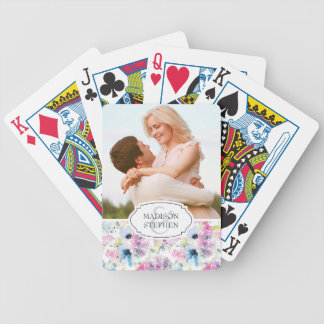 Floral Bouquet Watercolor - Wedding Photo Bicycle Playing Cards