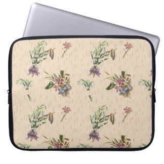 Floral Bows Flower Tan Blue Purple Laptop Sleeve