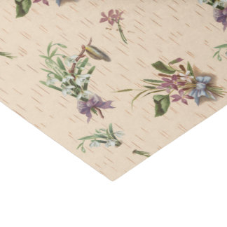Floral Bows Flower Tan Blue Purple Tissue Paper