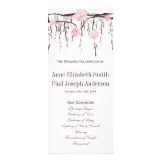 Floral branches pink Wedding Program Custom Rack Card