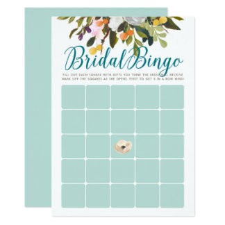 Floral Bridal Shower Bingo Cards Robins Egg Blue