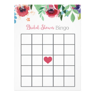 Floral Bridal Shower Bingo Game Letterhead