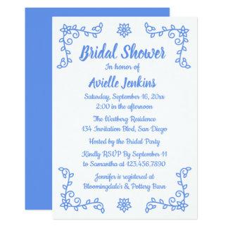 Floral Bridal Shower Blue Cornflower Flower Laurel Card