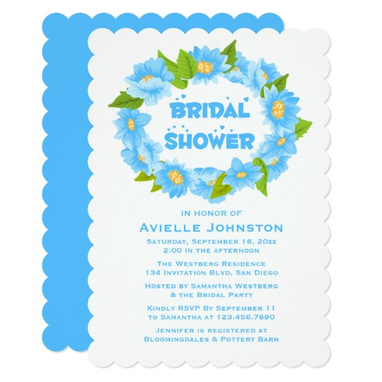 Floral Bridal Shower Blue Turquoise Flowers Card