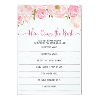 Floral Bridal Shower here Comes the bride Game Card