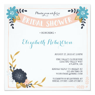 Floral Bridal Shower Invitation, Modern Card