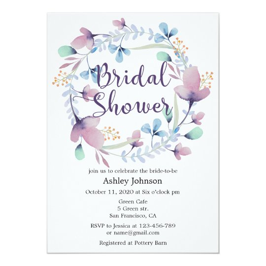 Floral bridal shower invitation. Romantic invites