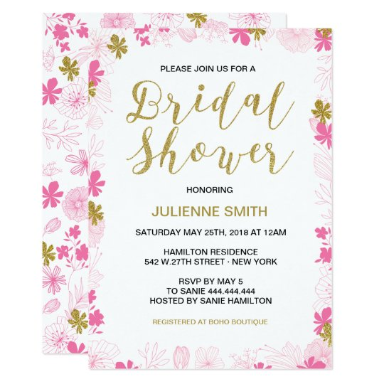 Floral Bridal Shower Invitations | Gold and Pink