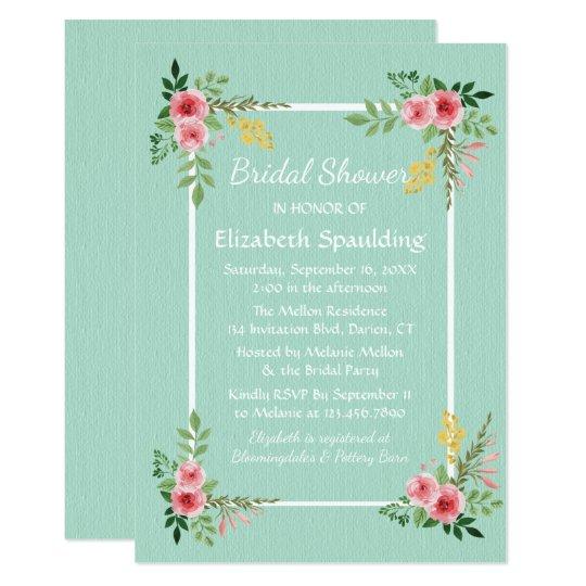 Floral Bridal Shower Mint Green Pink Rose Flowers Card