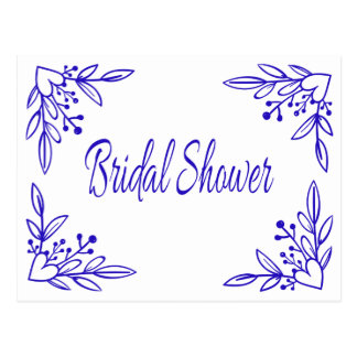 Floral Bridal Shower Navy Blue Heart Wedding Postcard