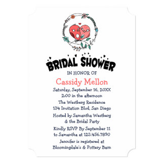 Floral Bridal Shower Pink Lovebirds Pink And White Card
