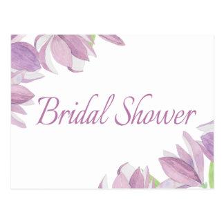Floral Bridal Shower Purple Watercolor Flowers Postcard
